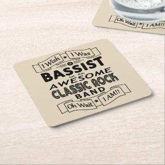 BASSIST awesome classic rock band (blk) Square Paper Coaster