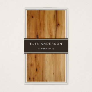 Bassist - Stylish Wood Texture Business Card