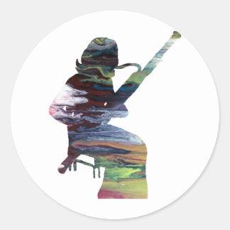 bassoon art classic round sticker
