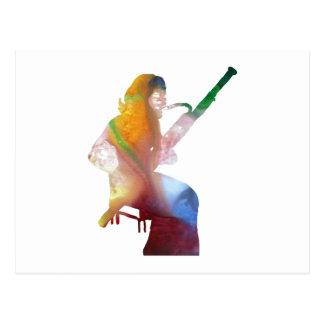 bassoon art postcard