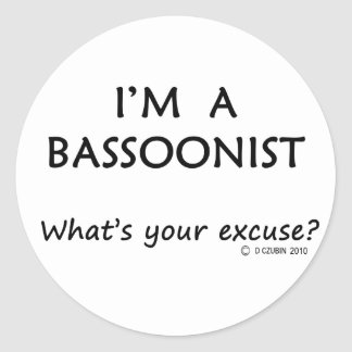 Bassoonist Excuse Classic Round Sticker
