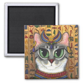 Bast Goddess, Egyptian Bastet Cat Art Magnet
