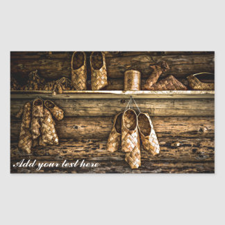 Bast shoes on the wall rectangular sticker