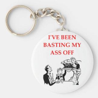 basting basic round button key ring