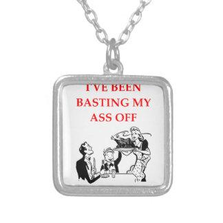 basting square pendant necklace