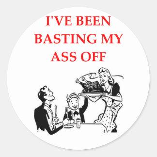 basting round sticker