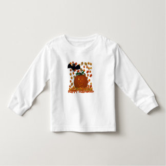 Bat and Pumpkin Happy Halloween Toddler Shirt