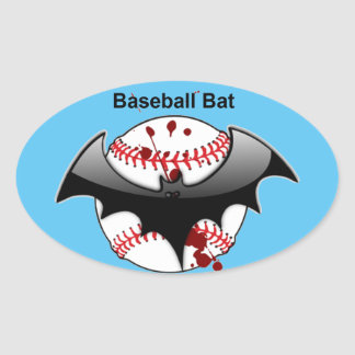 Bat...Ball...Baseball Bat Oval Sticker