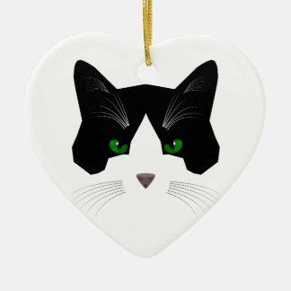 Bat Cat Heart-Shaped Ornament