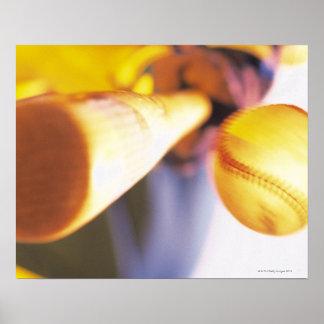 Bat contacting baseball poster