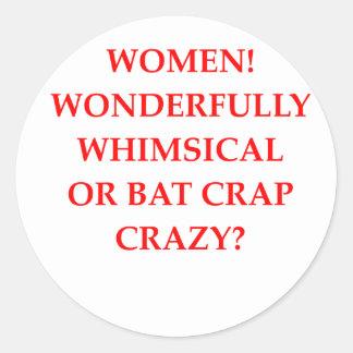 bat crap crazy classic round sticker