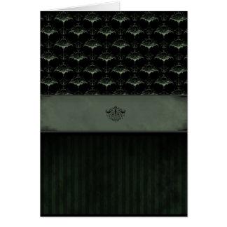 Bat Damask Card - Dark Moss