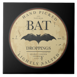 Bat Droppings Vintage Halloween Label Tile