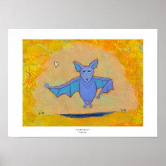 Bat floating flying fun unique modern pop folk art poster