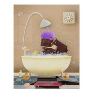 Bat in a tub - poster prints