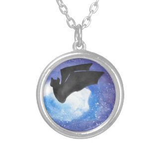 Bat In Flight Silver Plated Necklace