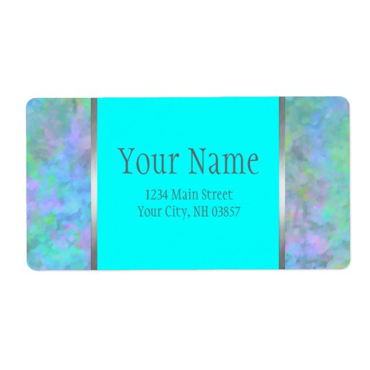 Bat Mitzvah Abstract Design in Turquoise Silver Shipping Label