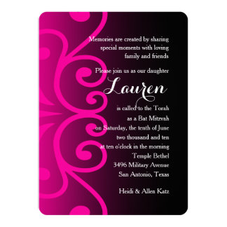 Bat Mitzvah Black with Any Color 14 Cm X 19 Cm Invitation Card