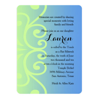 Bat Mitzvah Blue with Any Color 14 Cm X 19 Cm Invitation Card