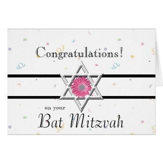 Bat Mitzvah Congratulations-Star of David+Flower Greeting Cards