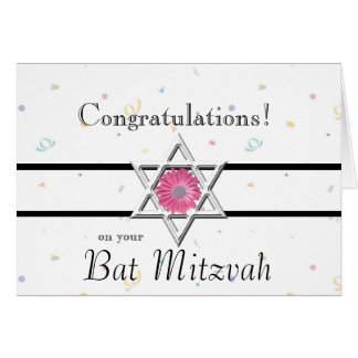 Bat Mitzvah Congratulations-Star of David+Flower Greeting Card