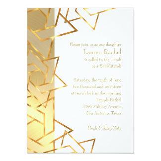 Bat Mitzvah Gold Star of David on Any Color 14 Cm X 19 Cm Invitation Card