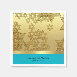 Bat Mitzvah Gold Star of David with Any Color Paper Serviettes