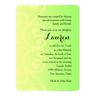 Bat Mitzvah Green with Any Color 14 Cm X 19 Cm Invitation Card