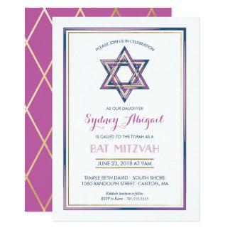 Bat Mitzvah Invitation - Customize, Gold, Modern