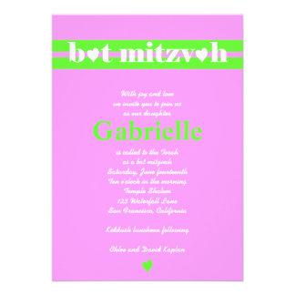 Bat Mitzvah Invitation Gabrielle Pink Green