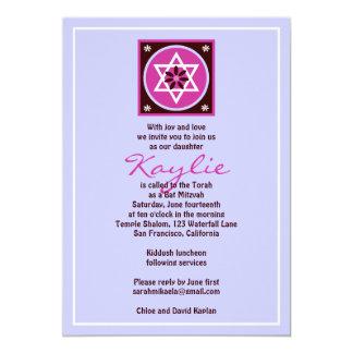 Bat Mitzvah Invitation Kaylie Jewish Star Grey