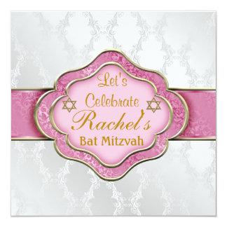 Bat Mitzvah INVITATIONS PINK WHITE ELEGANT Damask