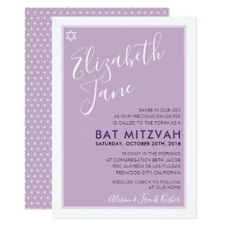 BAT MITZVAH jewish star modern tween purple invite