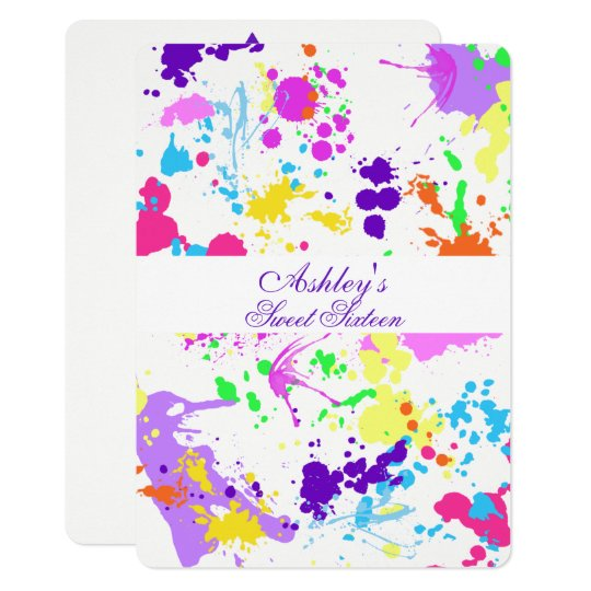Bat Mitzvah, Modern Paint Splatter, Invitation