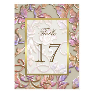 "Bat Mitzvah Multi ""Embossed"" Damask Table Number Postcard"