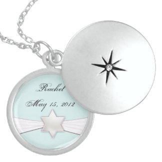 Bat Mitzvah necklace in soft blue  and white