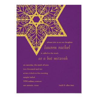 Bat Mitzvah Ornate Star of David 14 Cm X 19 Cm Invitation Card