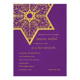 Bat Mitzvah Ornate Star of David Invitations