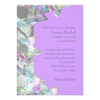 Bat Mitzvah Pastel Star of David on Any Color 14 Cm X 19 Cm Invitation Card