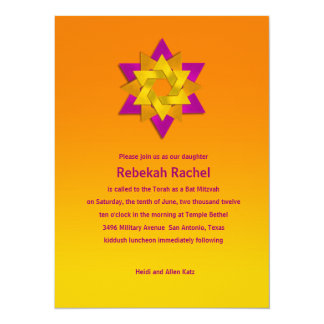 Bat Mitzvah Pink Orange Yellow Star Flower 14 Cm X 19 Cm Invitation Card