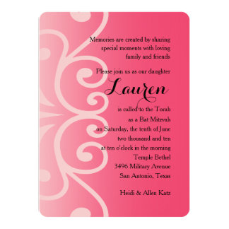 Bat Mitzvah Pink with Any Color 14 Cm X 19 Cm Invitation Card