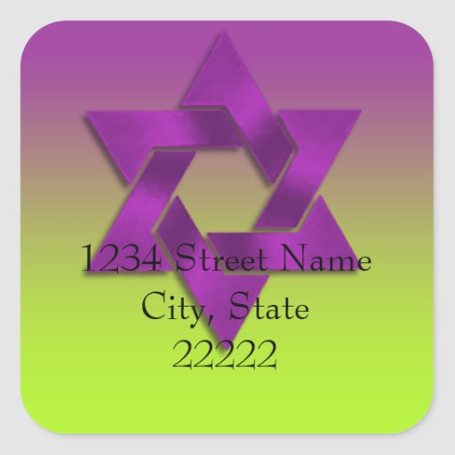 Bat Mitzvah Purple to Green Fade Square Stickers