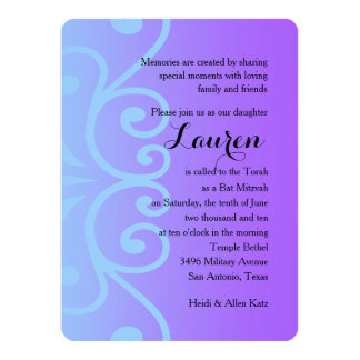 Bat Mitzvah Purple with Any Color 14 Cm X 19 Cm Invitation Card