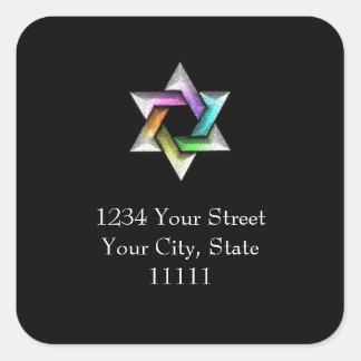 Bat Mitzvah Rainbow Star of David Square Stickers