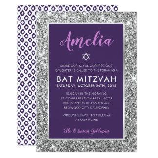 BAT MITZVAH star cool tween purple silver invite