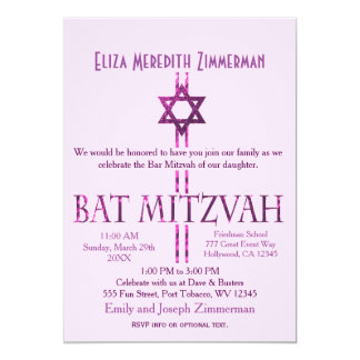 Bat Mitzvah   Star of David   Pink Card