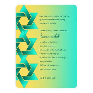 Bat Mitzvah Star of David Yellow Aqua 14 Cm X 19 Cm Invitation Card