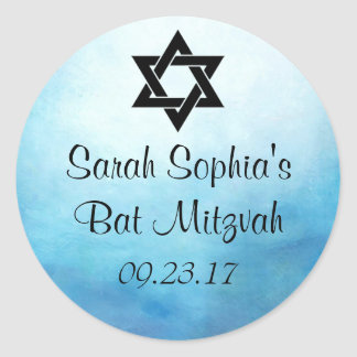 Bat Mitzvah Sticker, Favor Tag, Bat Mitzvah Decor Classic Round Sticker