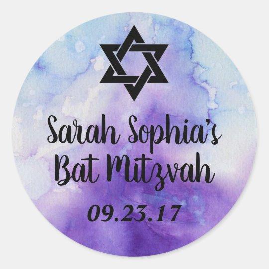 Bat Mitzvah Sticker, Favour Tag, Bat Mitzvah Decor Classic Round Sticker
