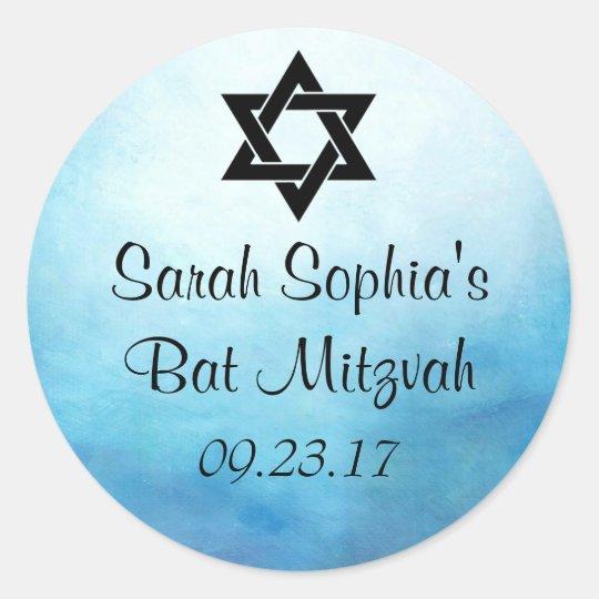 Bat Mitzvah Sticker, Favour Tag, Bat Mitzvah Decor Round Sticker